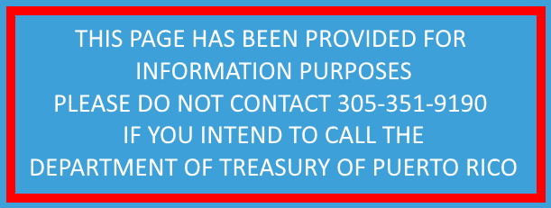 Department of Treasury of Puerto Rico (Contact Information)