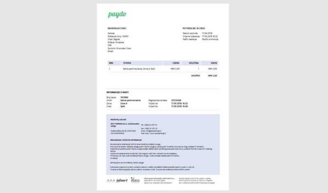PayDo parking potvrda - TEST Aplikacija PayDo za plaćanje parkinga