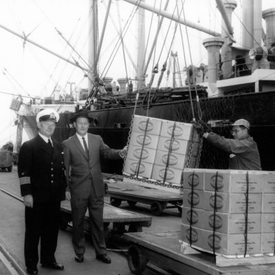 Rice for East Loaded aboard MS Tohoro and bailing wire 3/1959