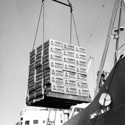 Raisins being loaded for shipment at the Port of Stockton