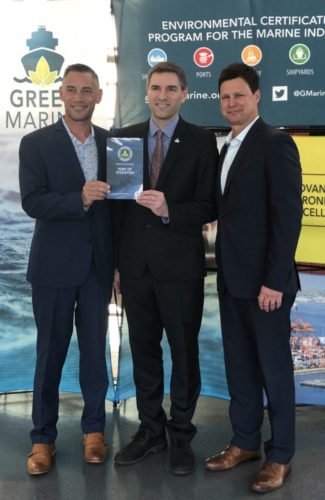 Pictured left to right are: Port of Stockton Environmental & Regulatory Affairs Manager Jason Cashman; Green Marine Executive Director David Bolduc; and Port of Stockton Director of Environmental & Public Affairs Jeff Wingfield.