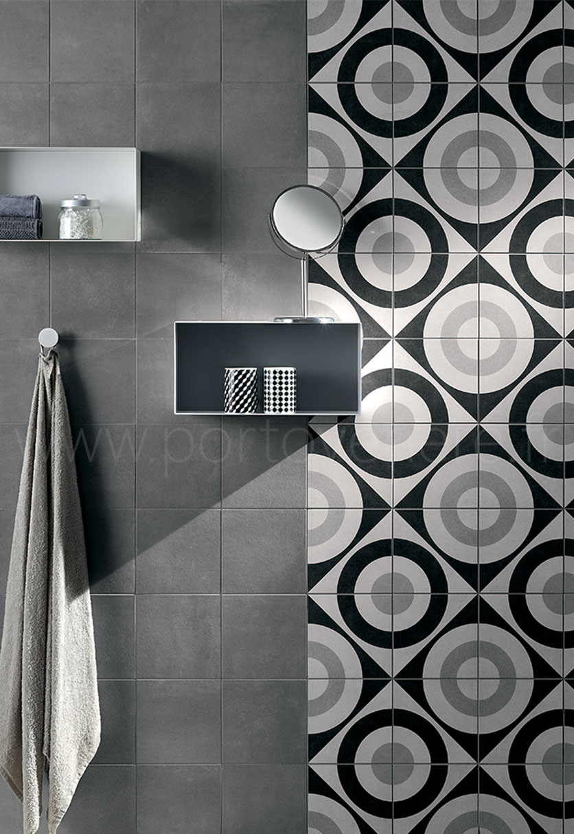 salle de bain style carreau ciment noir