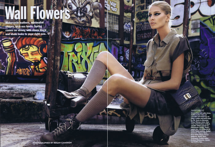 """Hana Soukupova photographed by Regan Cameron in """"Wall Flowers"""" for Allure, February 2010 1"""