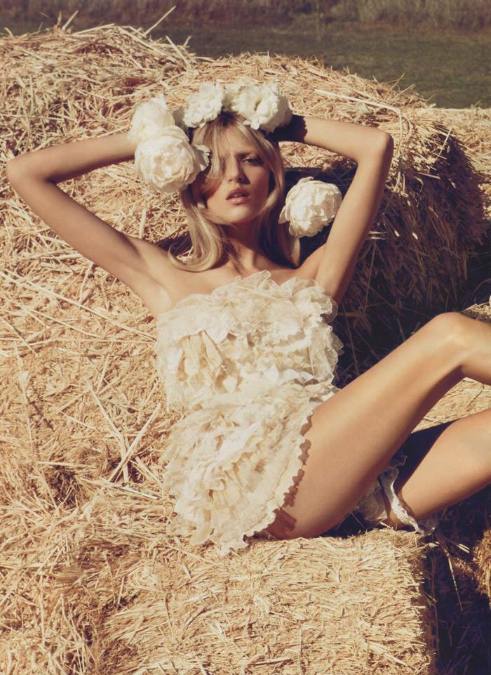 """Anja Rubik photographed by Camilla Akrans in """"The Farmer's Daughter"""" for Vogue Nippon, March 2010 1"""