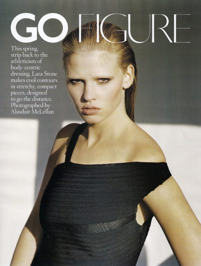"Lara Stone photographed by Alasdair McLellan in ""Go Figure"" for Vogue UK, April 2010 1"