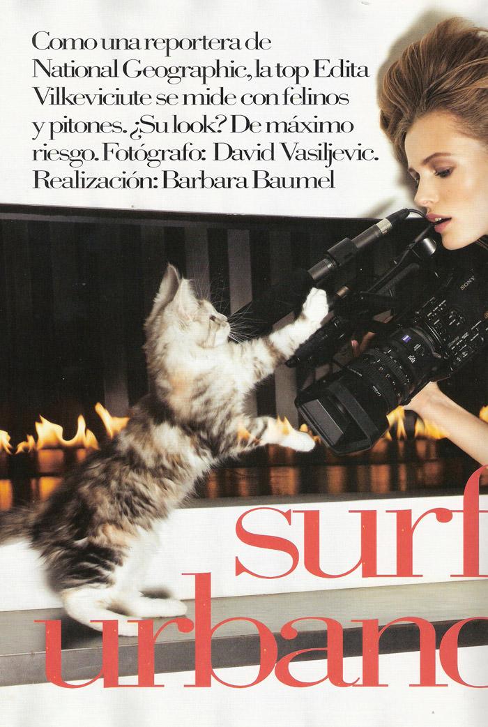 "Edita Vilkeviciute photographed by David Vasiljevic in ""Surf Urbano"" for Vogue España, April 2010 1"