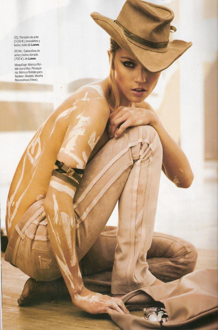 """Masha Novoselova photographed by Mario Sierra in """"Nude Sobre Piel"""" for Elle España, April 2010 10"""