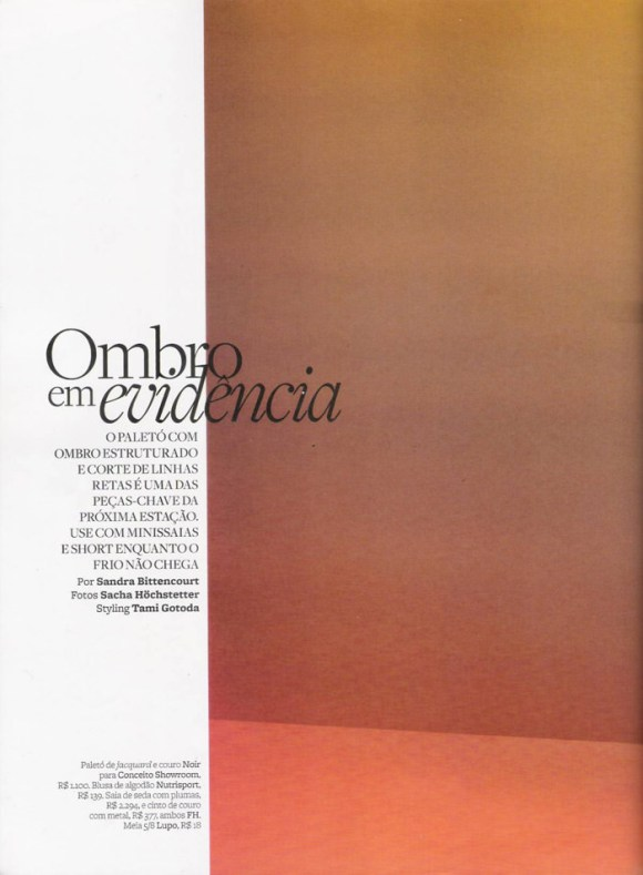"""Tayane Leão Melo photographed by Sacha Höchstetter in """"Ombro Em Evidência"""" for Maire Claire Brasil, March 2010 1"""