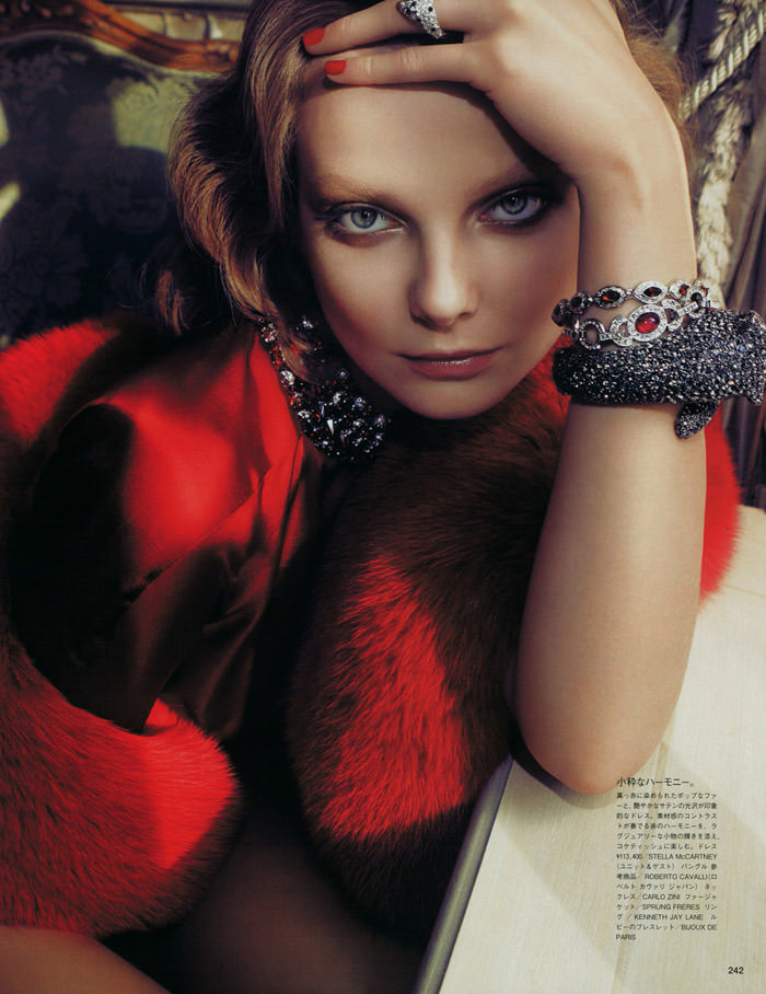 "Enikő Mihalik photographed by Camilla Akrans in ""Red Star"" for Vogue Nippon, August 2010 4"