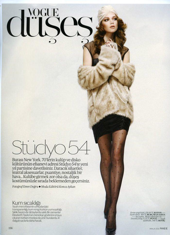 """Elena Lomkova photographed by Emre Dogru in """"Stüdyo 54"""" for Vogue Türkiye, December 2010 2"""