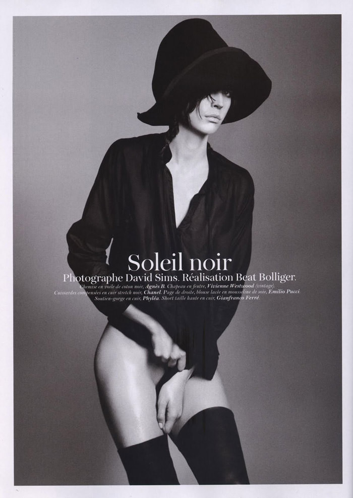 "Raquel Zimmermann photographed by David Sims in ""Soleil Noir"" for Vogue Paris, June 2011"