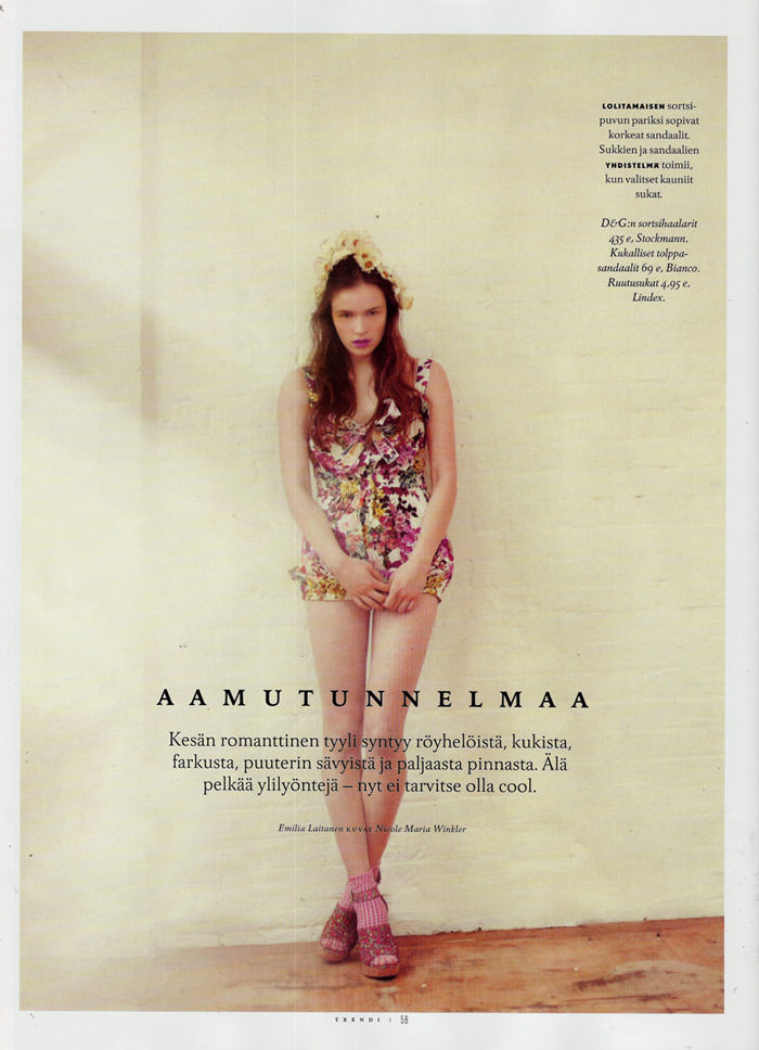 """Aamutunnelmaa"" by Nicole Maria Winkler for Trendi (Finland), June 2011"
