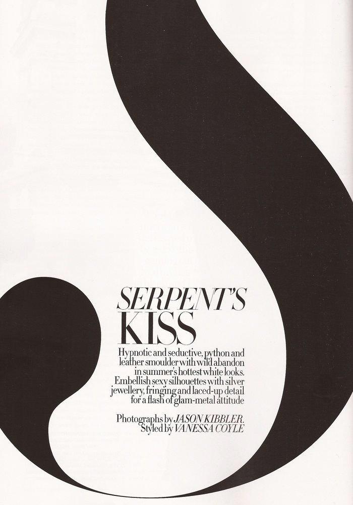 """Heidi Mount photographed by Jason Kibbler in """"Serpent's Kiss"""" for Harper's Bazaar UK, June 2011 2"""