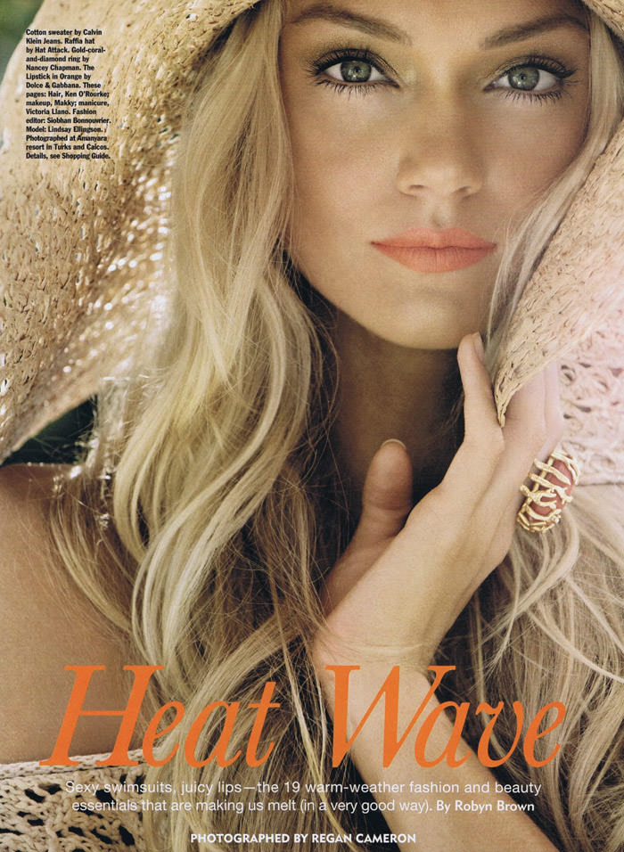 "Lindsay Ellingson photographed by Regan Cameron in ""Heat Wave"" for Allure Magazine, June 2011"