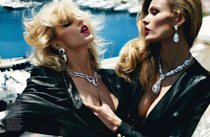 Edita Vilkeviciute & Anja Rubik photographed by Mario Testino for Vogue Paris, October 2013