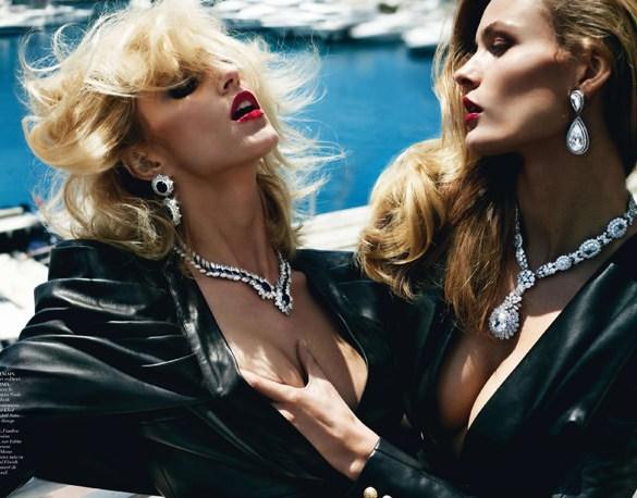 Edita Vilkeviciute and Anja Rubik by Mario Testino for Vogue Paris