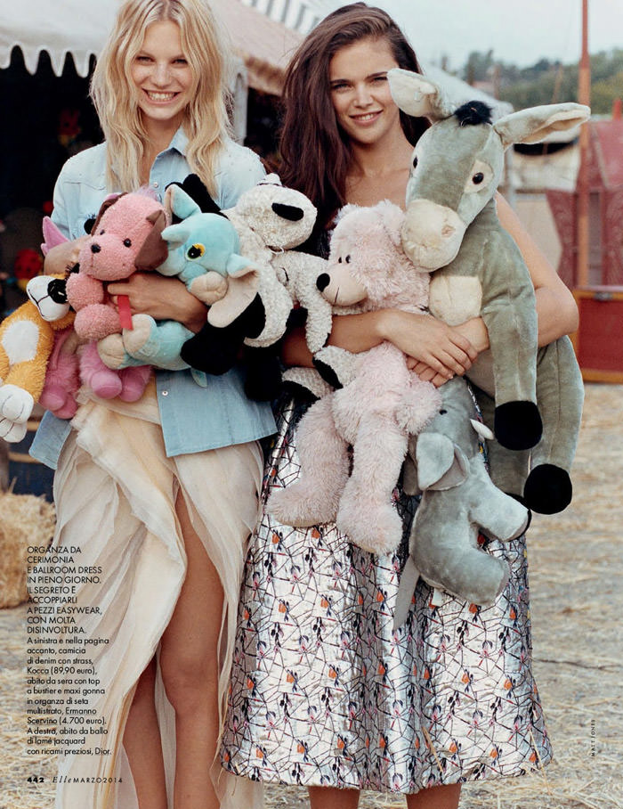 Jena Goldsack and Nadine Leopold photographed by Matt Jones for Elle Italy, March 2014