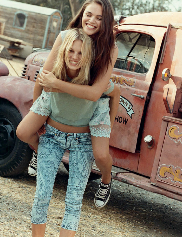 Jena Goldsack and Nadine Leopold by Matt Jones for Elle Italy