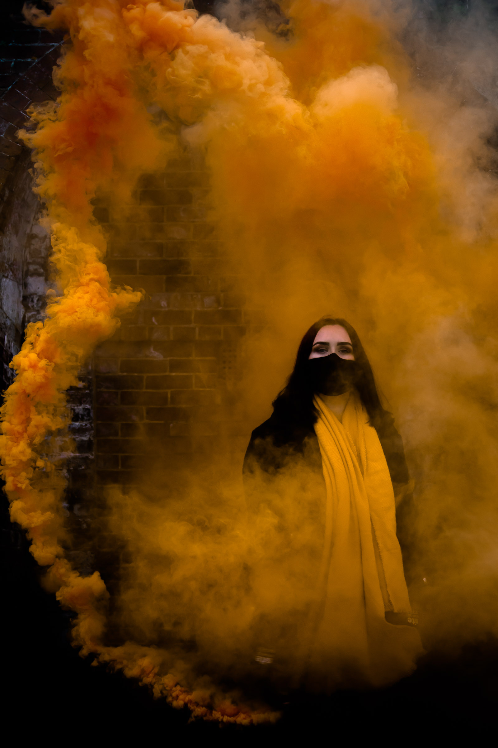 Yellow smoke grenade Enola Gaye portrait photo session Portsmouth