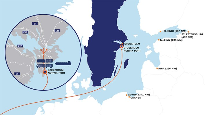 Map showing Stockholm Norvik Port´s position in the Baltic Sea