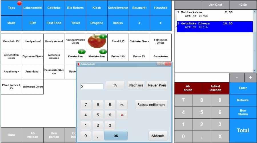 Maxstore Kassensoftware, Kassensysteme mit Rabatt
