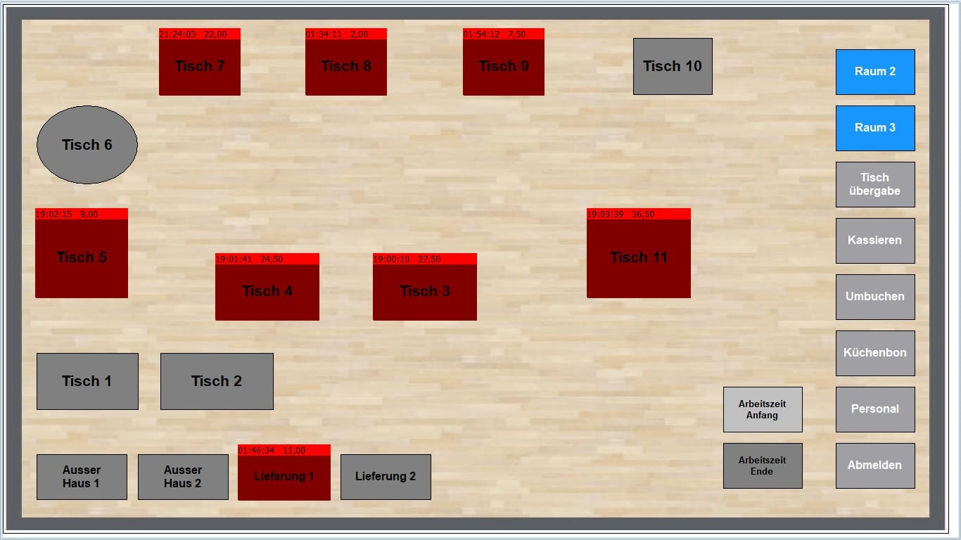 Maxstore Tischplan mit freien und besetzten Plätzen