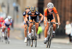 GLASGOW, SCOTLAND - JUNE 23: Lizzie Armitstead (R) of Boels Dolmans Cycling Team launches an attack from Laura Trott of Wiggle Honda during the 2013 National Womens Road Race Championships on June 23, 2013 in Glasgow, Scotland. (Photo by Bryn Lennon/Getty Images)