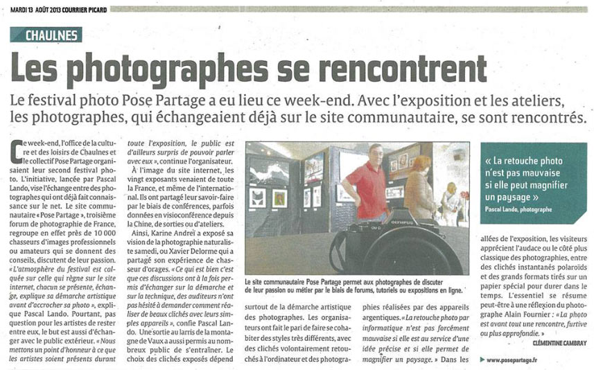 Article presse Courrier picard festival photo