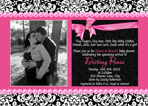 Hot Pink Damask Baby Shower Invitations