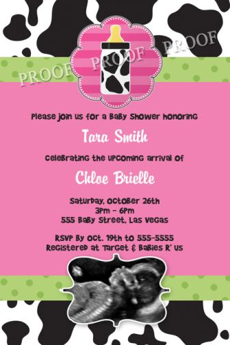 Baby Cow Print Shower Invitations