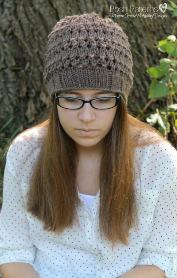 Free Knitting Pattern Eyelet Lace Hat