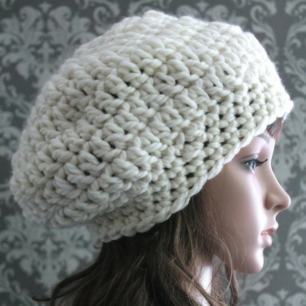 c617fc55733 This chunky slouchy hat crochet pattern is elegant and easy to crochet. Big  yarn and a big crochet hook make it a quick and fun project that s perfect  for ...