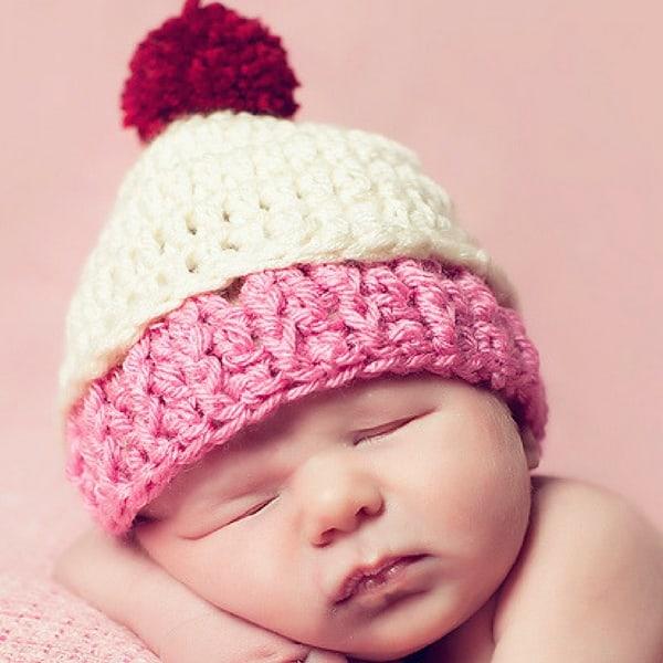 Baby Cupcake Hat Free Crochet Pattern