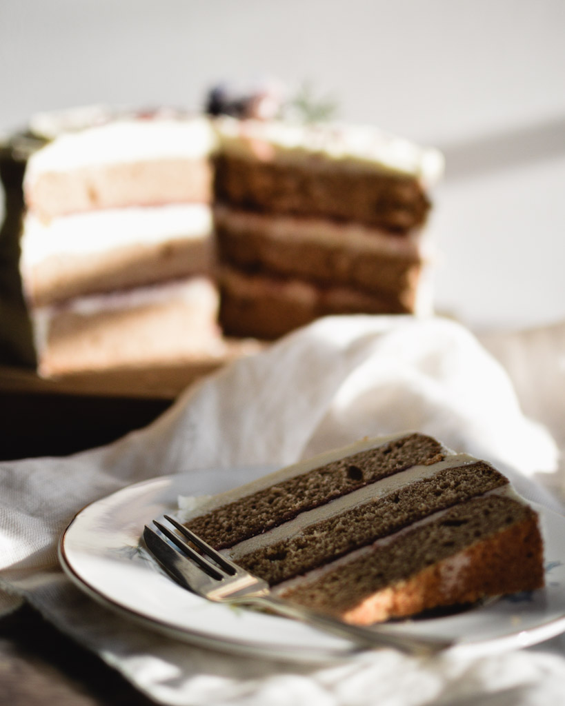 naked earl grey cake on vintage plate