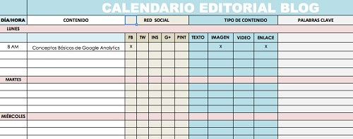ejemplo calendario editorial para el blog