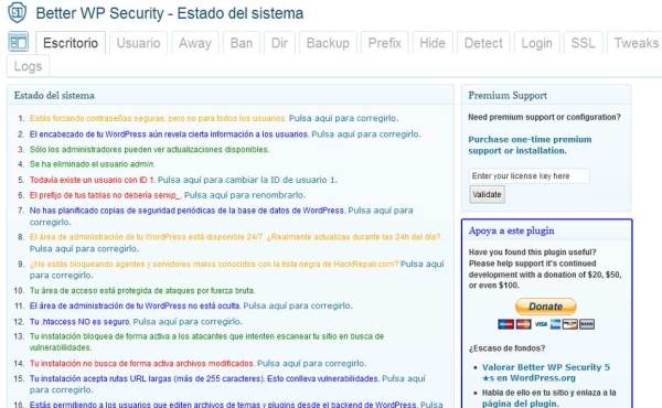 better wp security panel de control