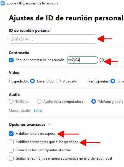 Zoom security tips Modify access parameters