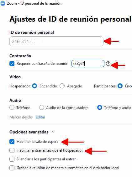 Zoom consejos de seguridad Modifica parámetros de acceso