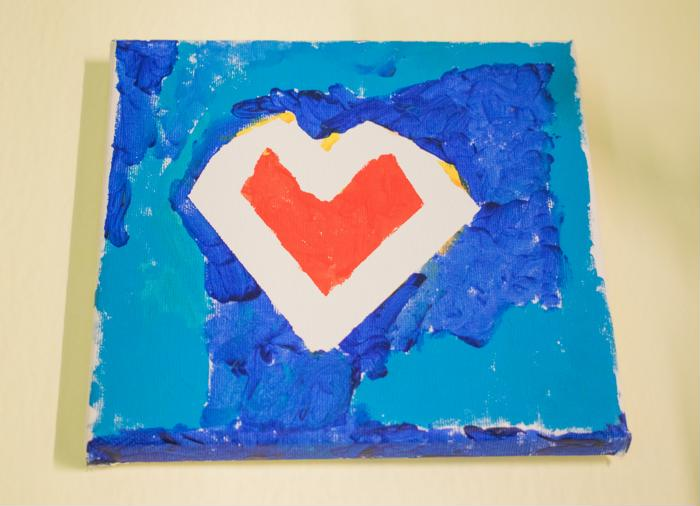 painters tape heart canvas art