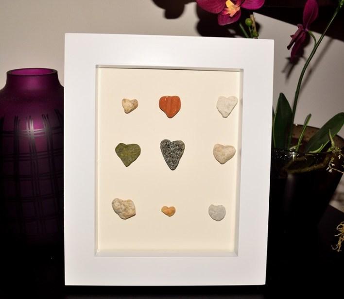diy framed beach pebbles
