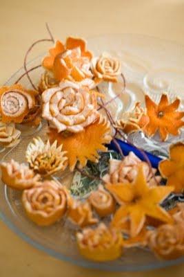 Various flowers out fruit peels