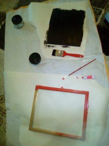 making the diy framed blackboard for photo prop