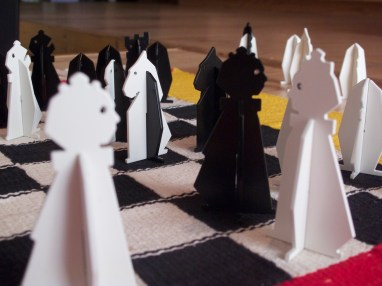 Olive & Patrick, L'Echiquete (Checkered Chess), 2012, pieces and chessboard, Photography Olive Martin