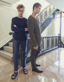 Neels wears Marc by Marc Jacobs sweater Public School pants John Varvatos shoes Pasha wears Marc by Marc Jacobs sweater Zara pants Prada shoes