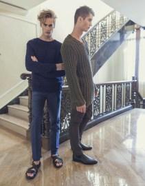 Neels wears Marc by Marc Jacobs sweater Public School pants John Varvatos shoes Pasha wears Marc by Marc Jacobs sweater Zara pants Prada shoes