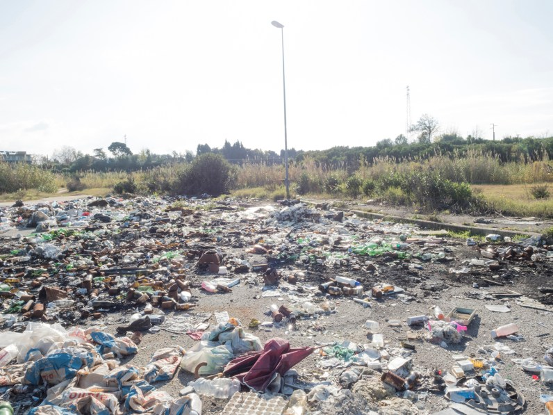 Italy, Calabria, Rosarno. 2015. An illegal dump in the countryside of Rosarno.