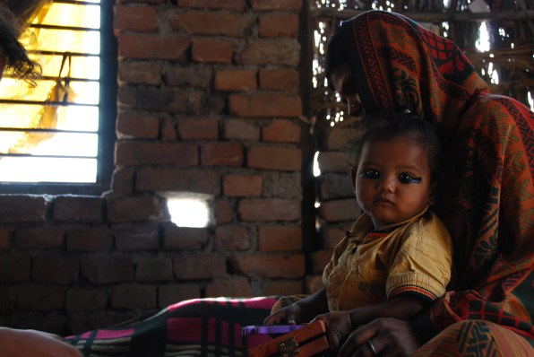This child dawns kohl, or kajal in Hindi, during the survey. While indoors it does little to help her, but outside it distracts the sun from her eyes.