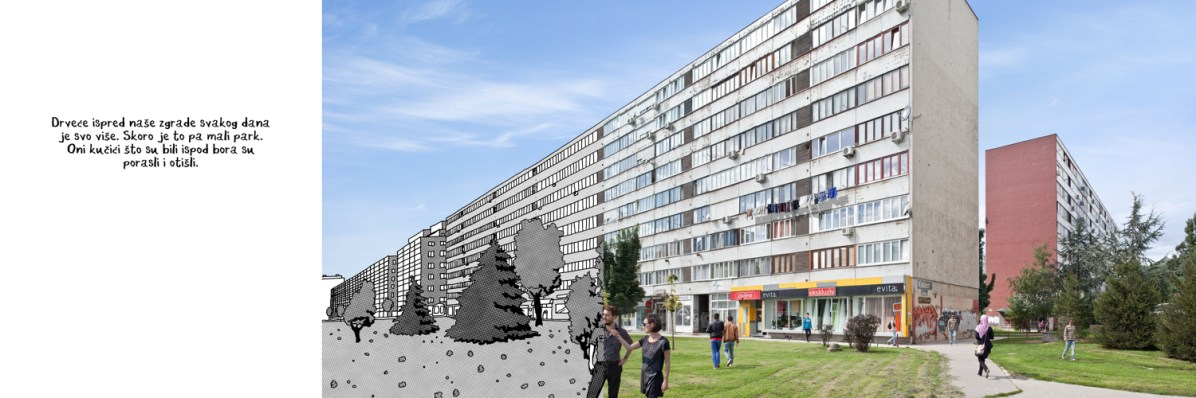 « The trees in front of our building are growing more and more every day. This is a small square. Puppies that stood in front of the fir grew up and went off. » Kostja Ribnik and Ella Gall, in the foreground, draw comics where urbanism and architecture underlie a reflection about the place of invention in the city. © Kostja Ribnik/Alban Lécuyer