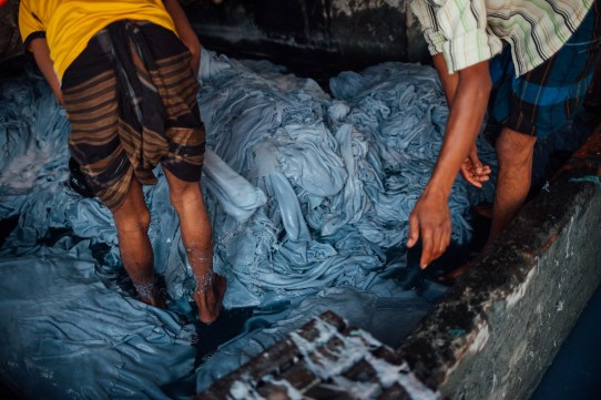 Workers handle leather in pits filled with sulfuric acid and sodium sulfide that can burn tissue, eye membrane, skin, and the respiratory tract. Other chemicals such as formaldehyde are known potential human carcinogens, the health effects of which appear years after exposure.