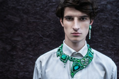shirt Yves Saint Laurent, embroidered earring, necklace Nataly Uhryn